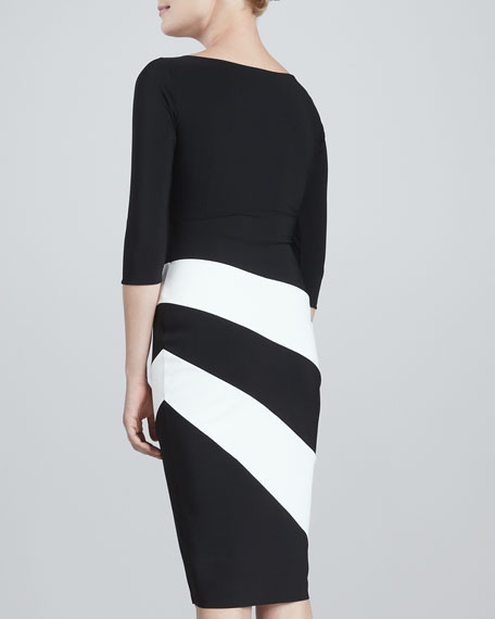Dana Colorblock Jersey Cocktail Dress, Black/White