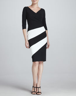 La Petite Robe by Chiara Boni Dana Colorblock Jersey Cocktail Dress, Black/White