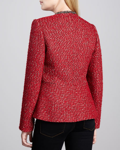 Boucle Beaded-Trim Peplum Jacket