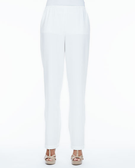 Crepe Straight-Leg Pants, Petite