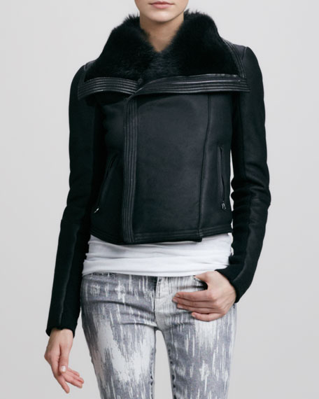 Shearling-Lined Leather Jacket, Black