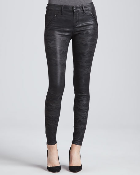 Elle Hi-Rise Moto Jeans, Woodland Coated