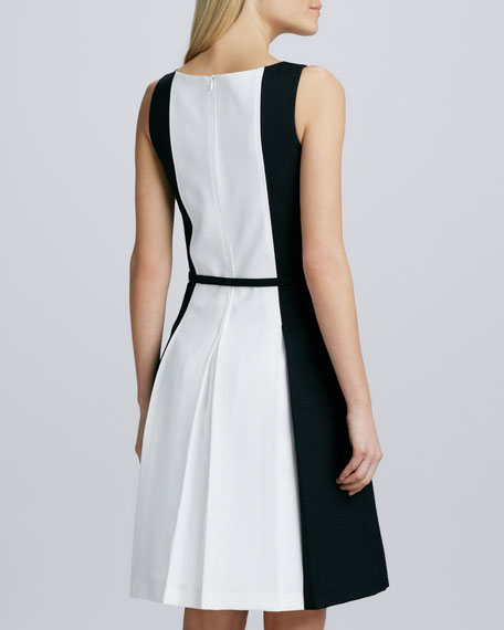Sleeveless Belted Two-Tone Dress