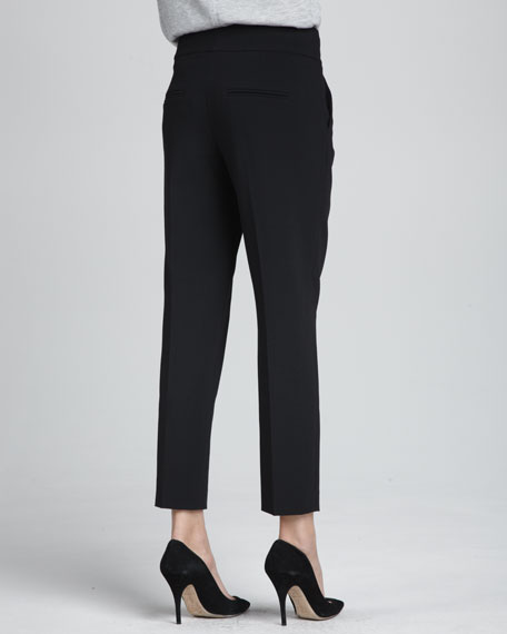 Structured Straight-Leg Cropped Trousers