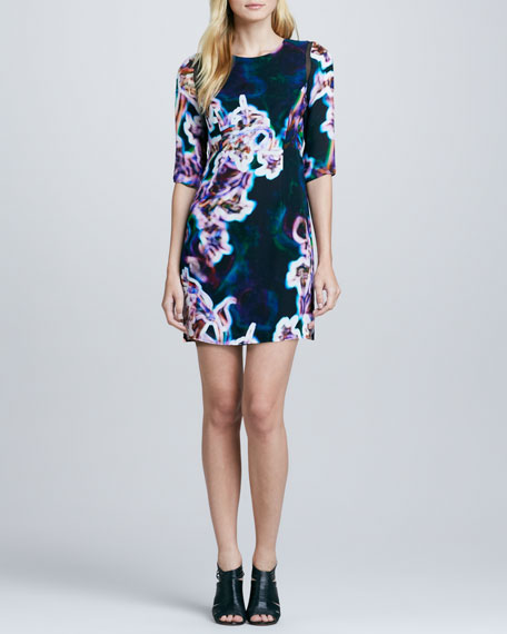 Printed Sheer-Inset Dress