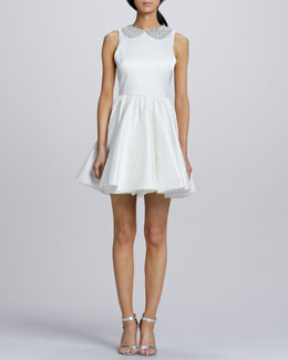 Alice + Olivia Lollie Crystal-Collar Party Dress