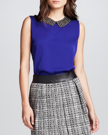 Milly Stud-Collar Sleeveless Top