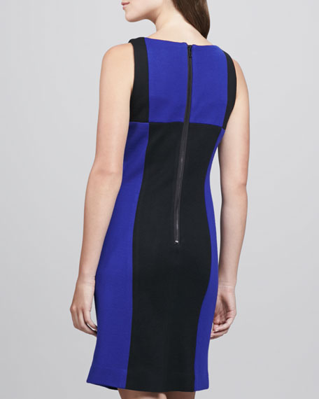 Fitted Colorblock Wool Dress