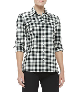 Michael Kors Pueblo Check Button-Front