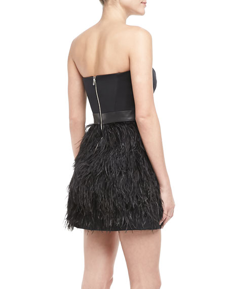 Feather-Skirt Strapless Dress