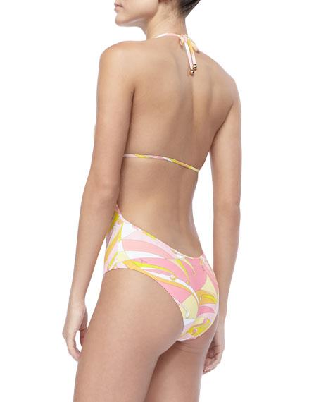 Fenice-Print Tie Swimsuit