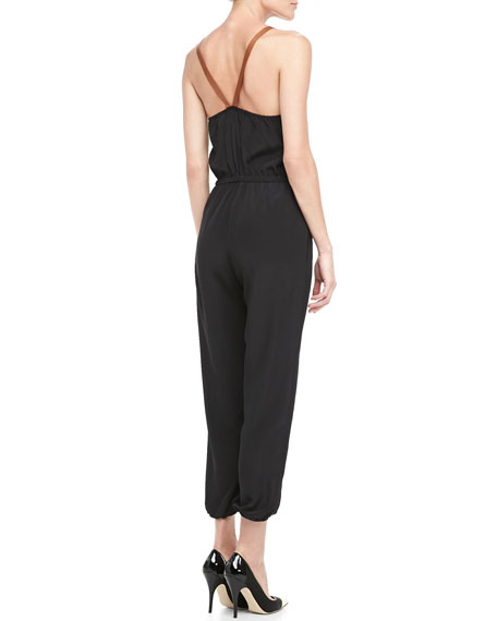 Leather-Strap Silk Jumpsuit