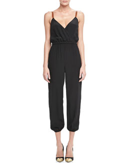 12th Street by Cynthia Vincent Leather-Strap Silk Jumpsuit