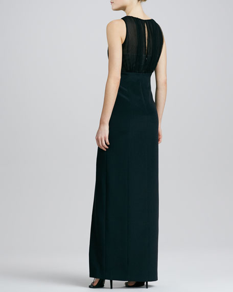 Sleeveless Gathered Jewel-Neck Gown