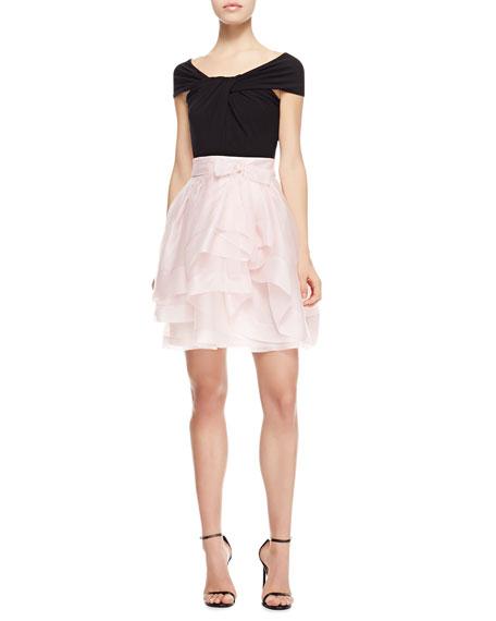 Matte Jersey Cap-Sleeve Top Dress