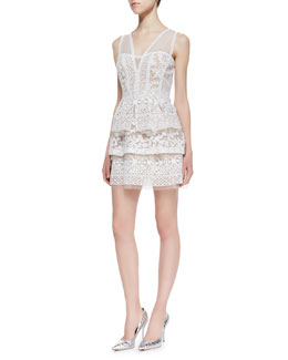BCBGMAXAZRIA Fola Lace Tiered Peplum Dress