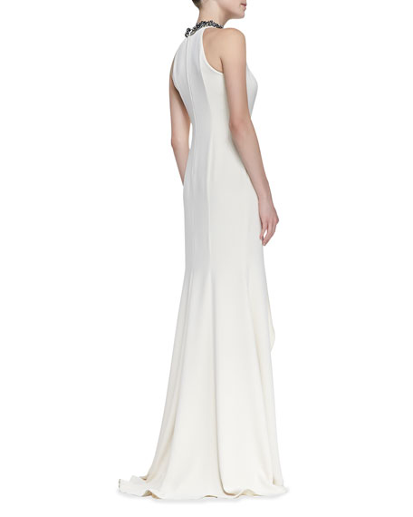 Beaded Draped Metallic Halter Gown, Eggshell