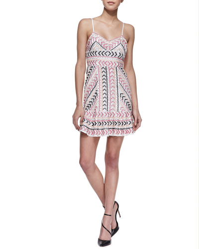 Parker Casey Sleeveless Beaded Silk Dress