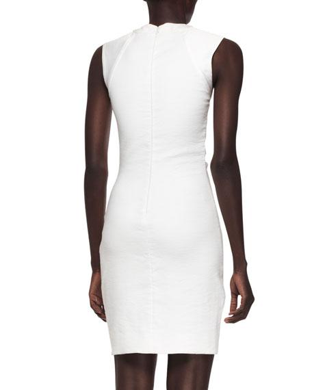 Sleeveless Pleat-Side Notched Sheath Dress