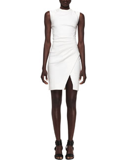 L'Agence Sleeveless Pleat-Side Notched Sheath Dress