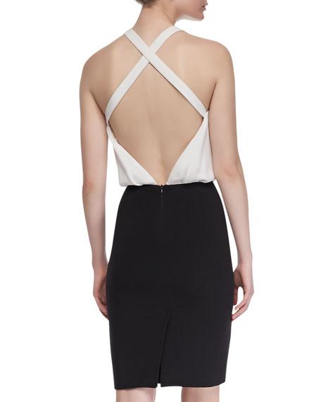 Contrast Halter Dress, Black/White