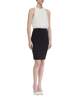 L'Agence Contrast Halter Dress, Black/White