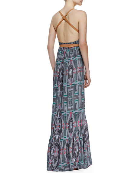 Leather-Wrap Maxi Dress
