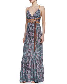 12th Street by Cynthia Vincent Leather-Wrap Maxi Dress
