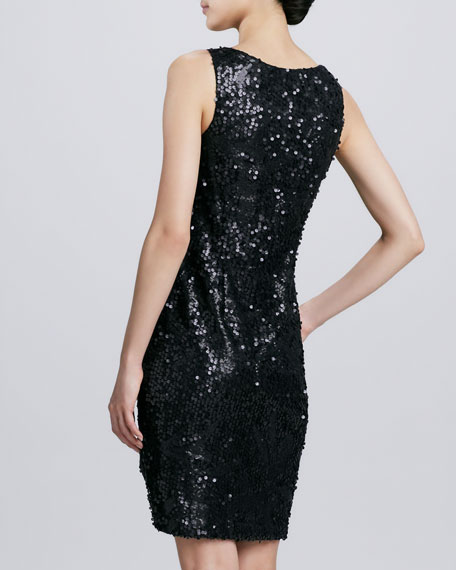 Jewel-Neck Sequined Cocktail Dress