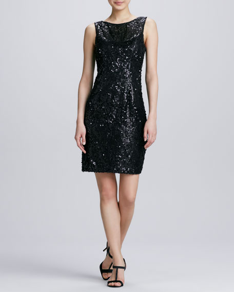 Jewel-Neck Sequined Cocktail Dress