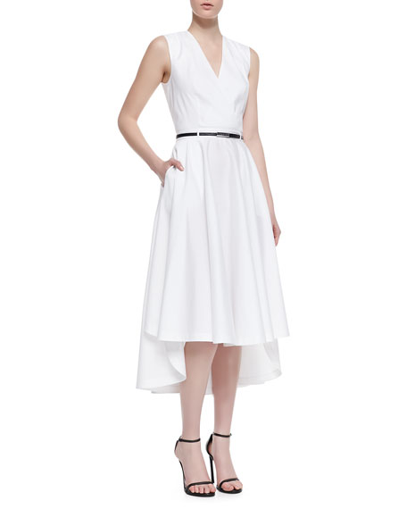 Belted Jersey Shirtdress with Cutout Back, White