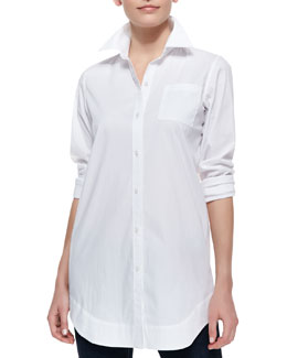 Neiman Marcus Boyfriend Long Oxford Shirt