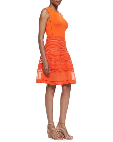 Rib Stitch Fit-and-Flare Dress