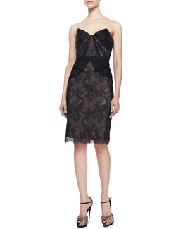 Marchesa Strapless Lace Cocktail Dress, Black