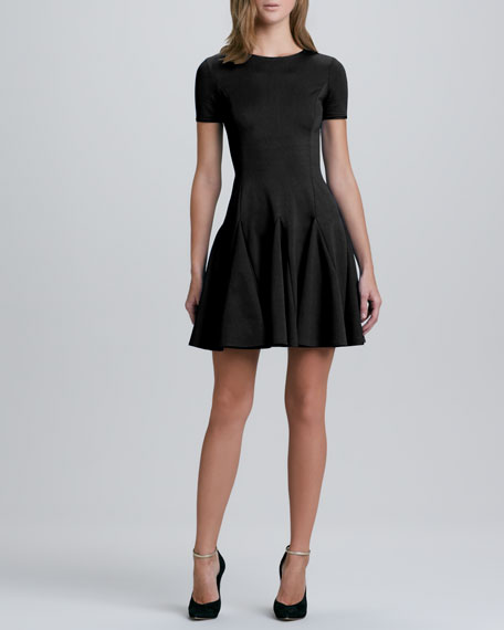 Flare Skirt Ponte Dress, Black