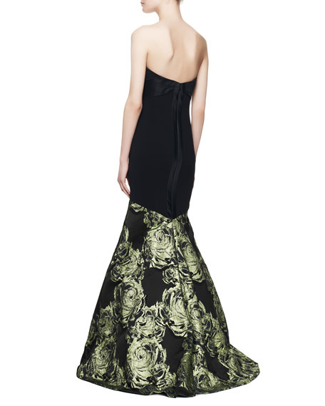 Strapless Mermaid Gown with Large Rose Print, Black/Absinthe