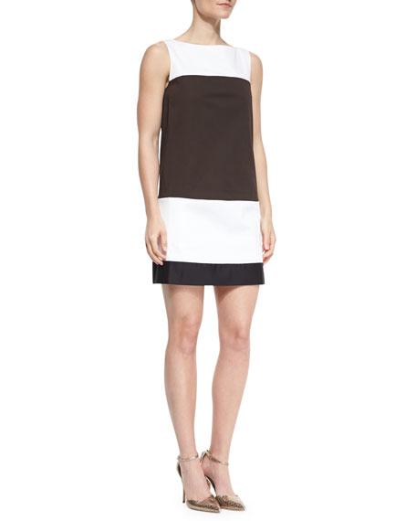colorblock bicolor shift dress