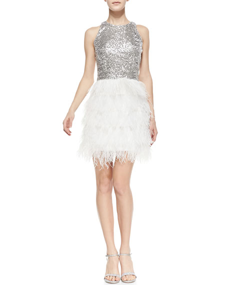 Sophia Sequin & Feather Sleeveless Dress