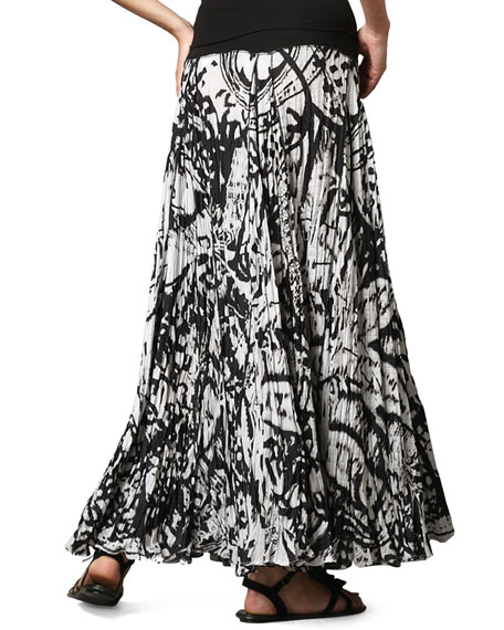 Knit-Waist Paisley Maxi Skirt, Women's