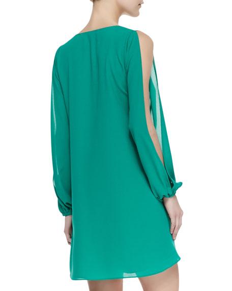 Gracie Chiffon Cold-Shoulder Shift Dress, Greenlake