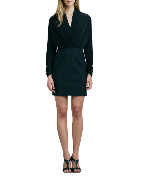 Long-Sleeve Combo Cocktail Dress
