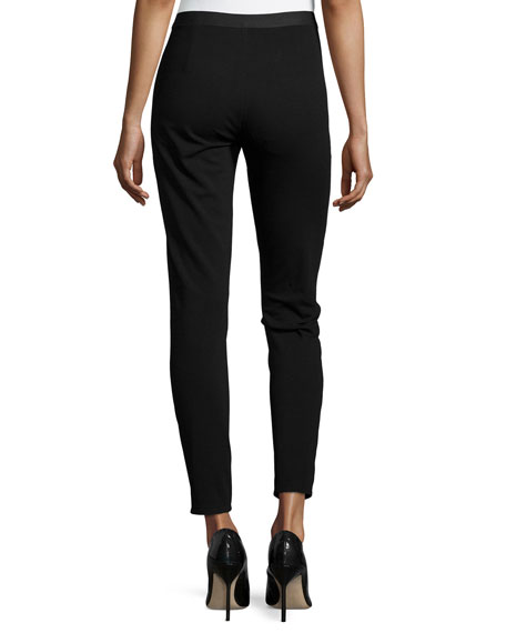 Ponte Leather-Blocked Leggings, Black, Petite