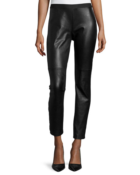 Eileen Fisher Ponte Leather-Blocked Leggings, Plus Size
