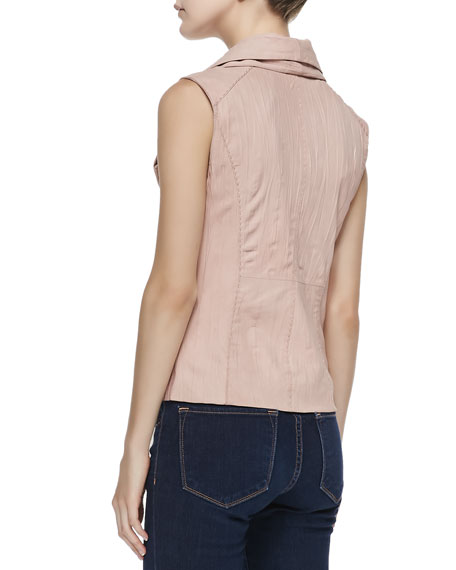 Leather & Knit Asymmetric Vest