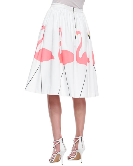 Alice + Olivia Hale Middie Flamingo-Print Skirt
