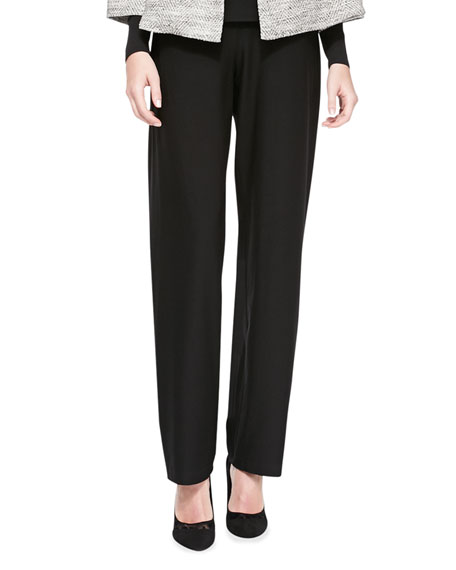 Eileen FisherWashable-Crepe Straight-Leg Pants, Petite