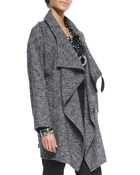 Tweed High-Collar Watercolor Coat