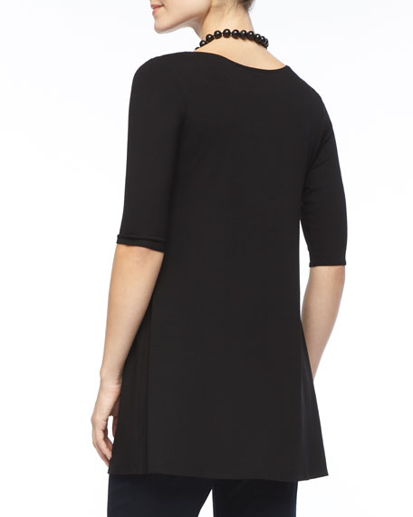 Half-Sleeve Silk Jersey Tunic, Black, Petite