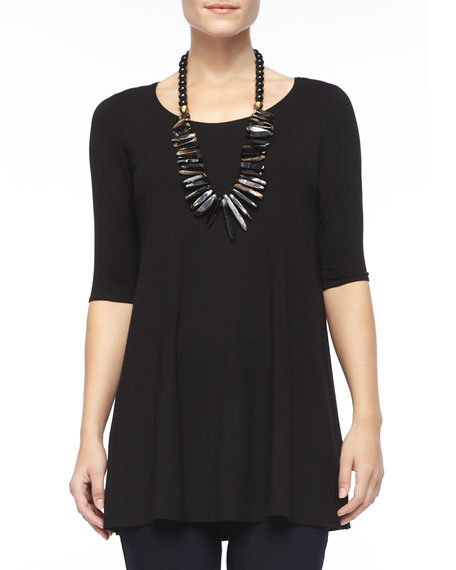 Eileen Fisher Half-Sleeve Silk Jersey Tunic, Black, Petite