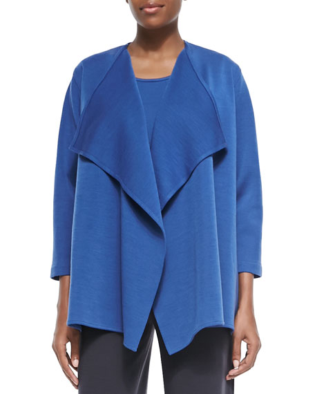 Caroline Rose Wool Knit Draped Jacket, Petite